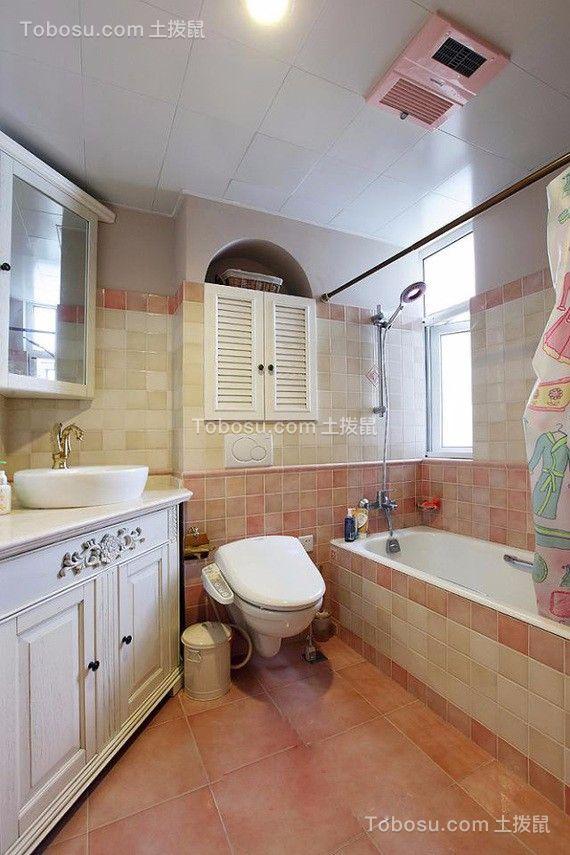 卫生间粉色地板砖地中海风格装潢设计图片