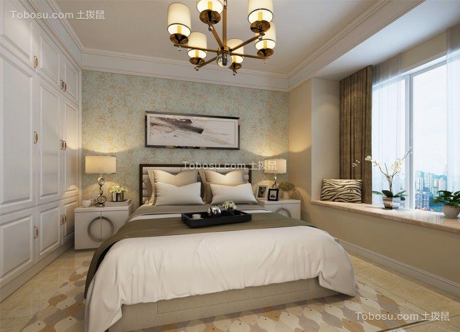 卧室绿色床美式风格装潢图片