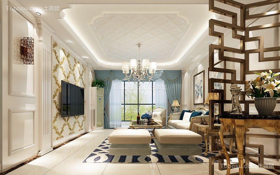 客厅白色吊顶欧式风格装潢图片