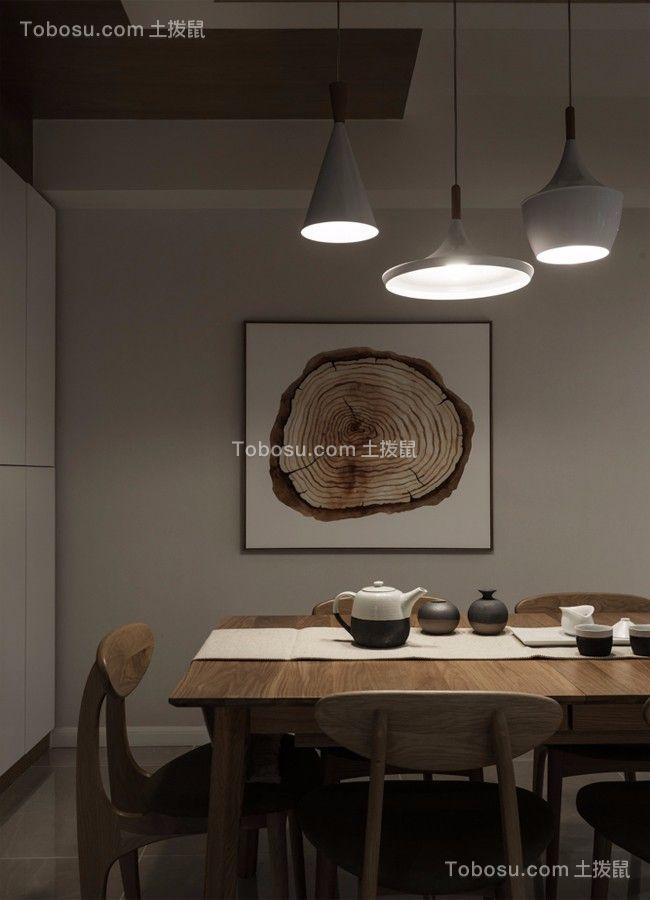 餐厅咖啡色餐桌现代简约风格装修效果图