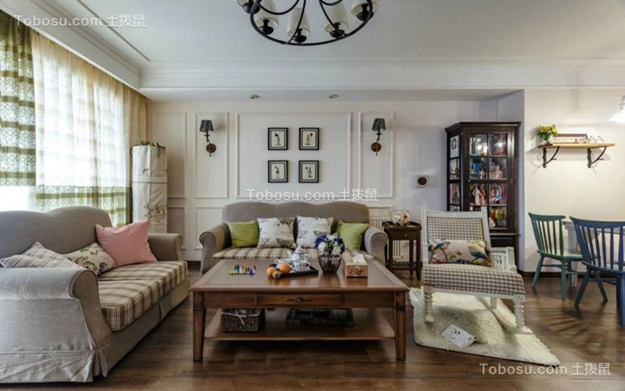 客厅灰色沙发美式风格装修图片