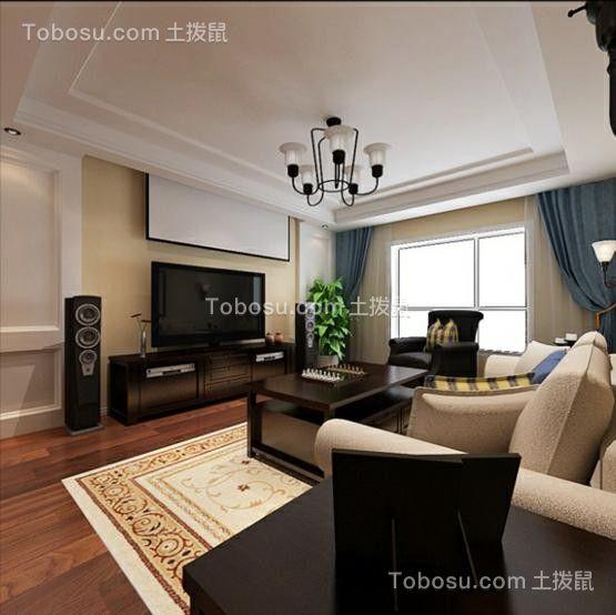 客厅白色沙发美式风格装饰设计图片