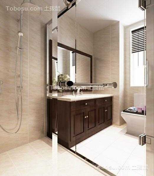浴室黑色洗漱台美式风格装潢设计图片