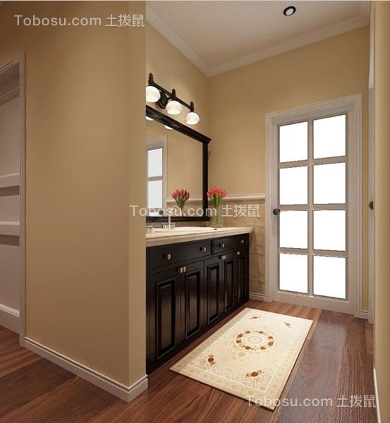 卫生间黑色洗漱台美式风格装潢效果图