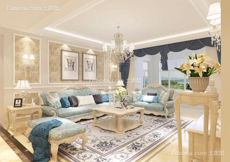 客厅白色沙发简欧风格装潢效果图
