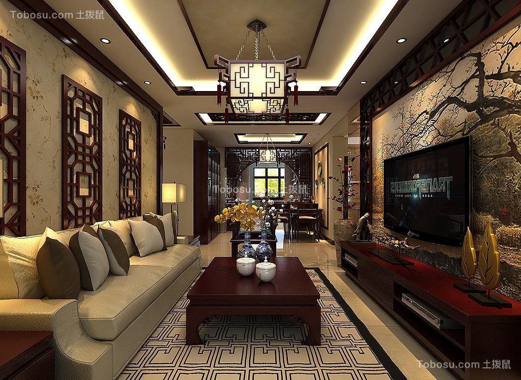 客厅红色电视柜中式风格装潢效果图