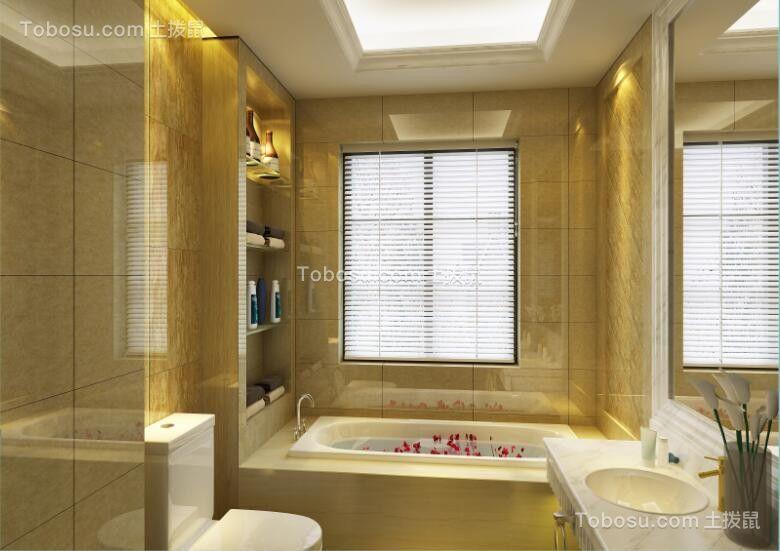 浴室白色浴缸简欧风格效果图
