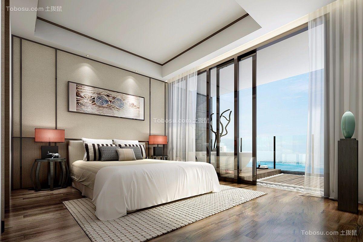 卧室白色窗帘日式风格装饰图片