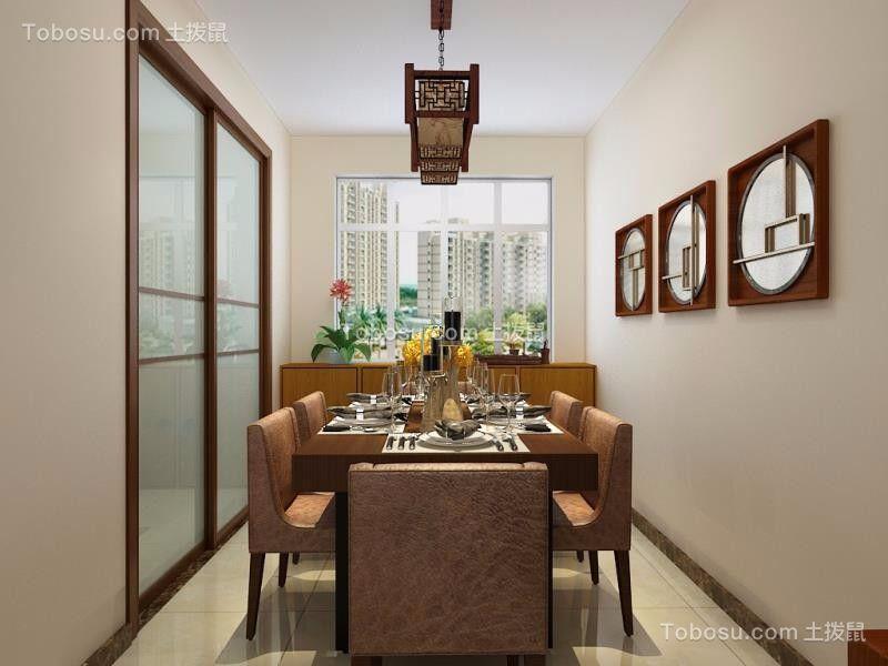 餐厅白色餐桌新中式风格效果图