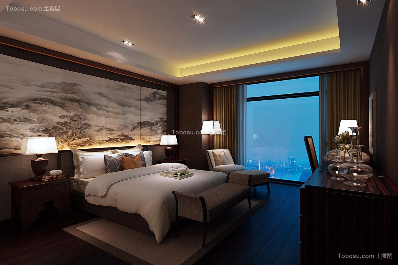 卧室咖啡色床头柜现代简约风格装潢效果图