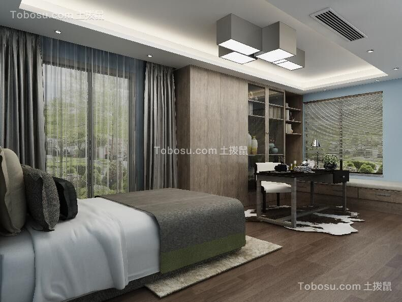 卧室咖啡色背景墙简约风格装饰设计图片