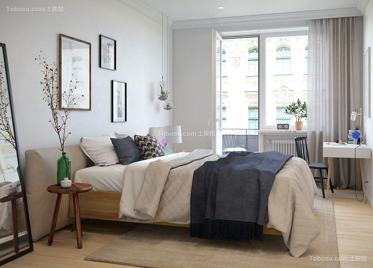 卧室白色床北欧风格装修设计图片