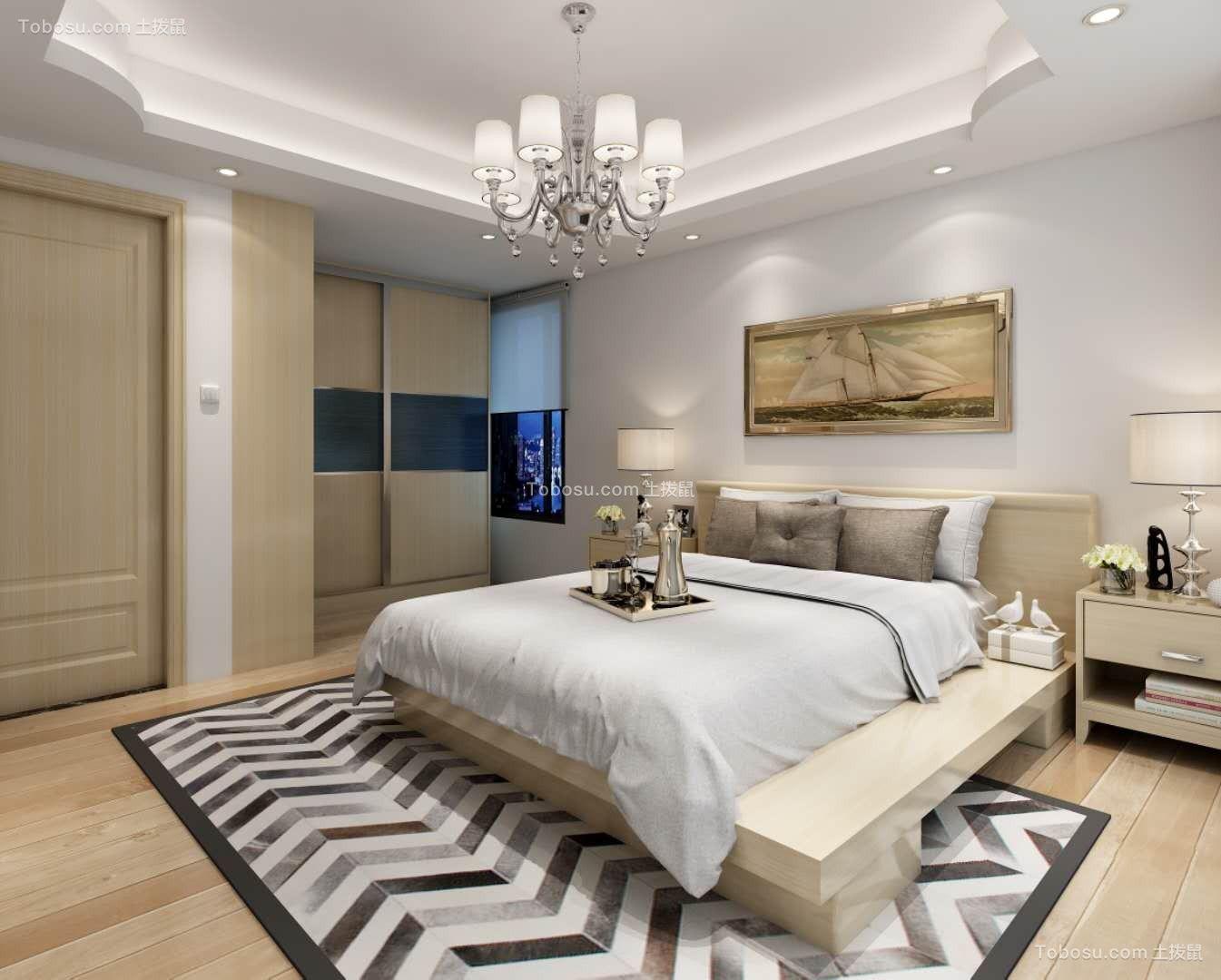卧室咖啡色背景墙现代风格装修效果图