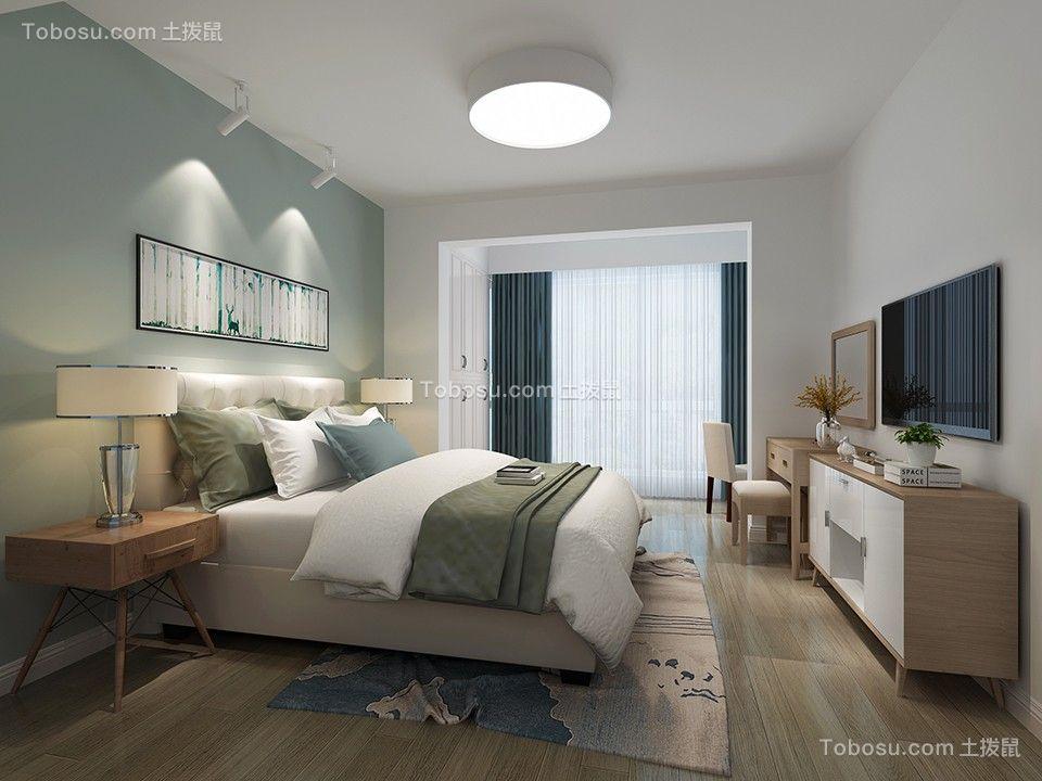 卧室白色床北欧风格装潢图片