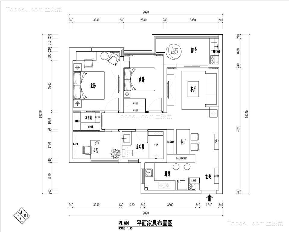 背景墙_89平米美式三居室装修效果图