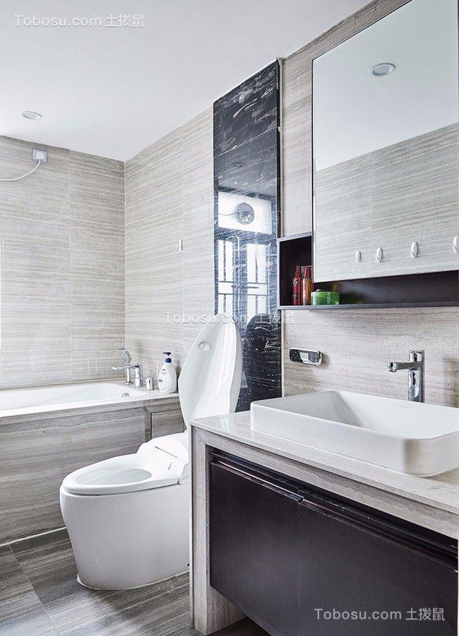 浴室白色洗漱台新中式风格装潢设计图片