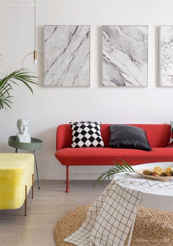 客厅白色背景墙北欧风格装饰图片