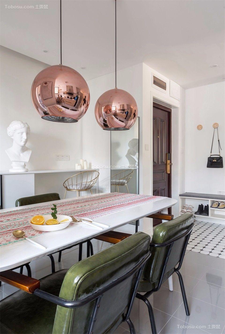 餐厅白色餐桌北欧风格装潢图片