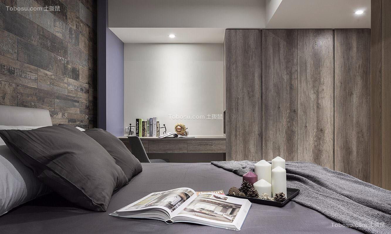 卧室灰色床现代简约风格装潢图片
