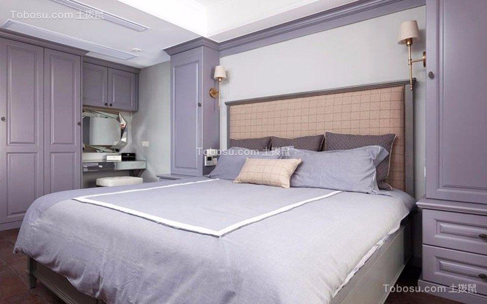 卧室紫色衣柜美式风格装修图片