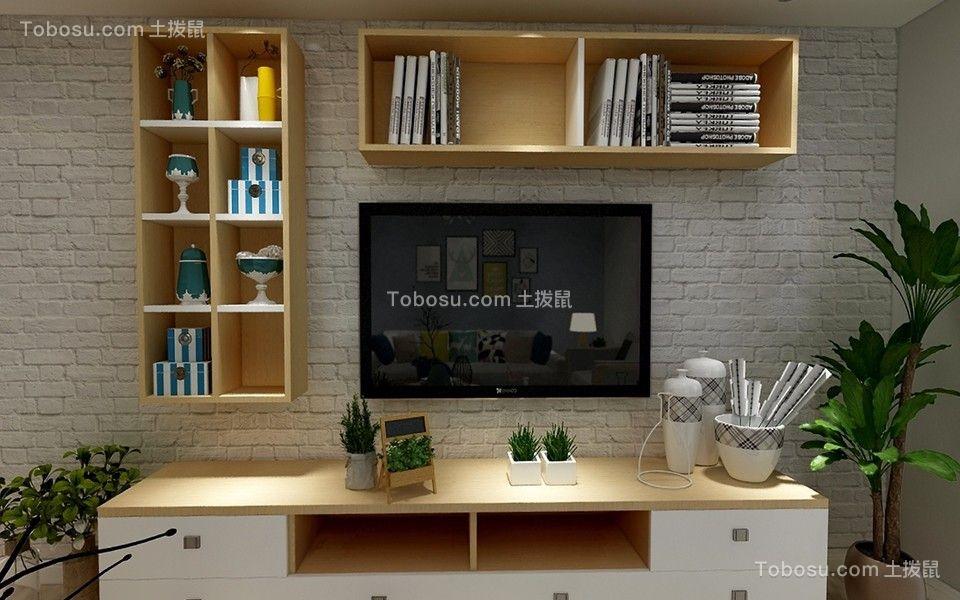 客厅黄色电视柜简约风格装潢效果图