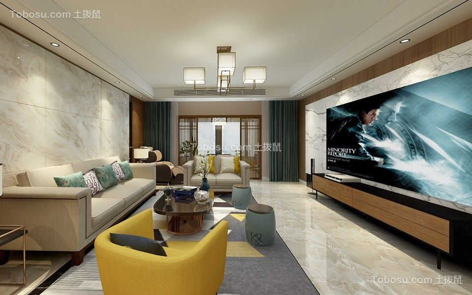 客厅米色背景墙混搭风格装饰图片