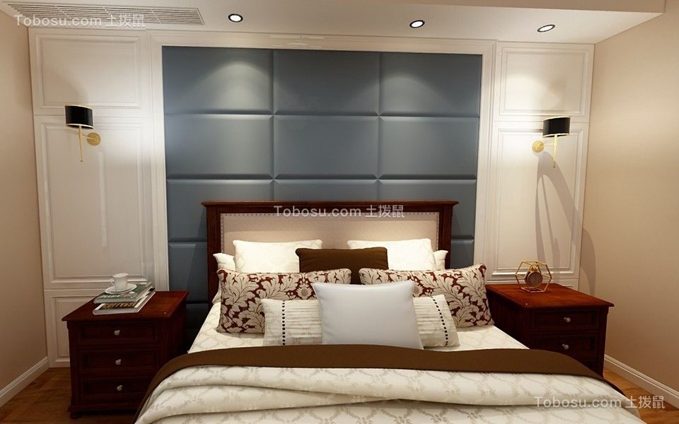 卧室蓝色床混搭风格装饰设计图片