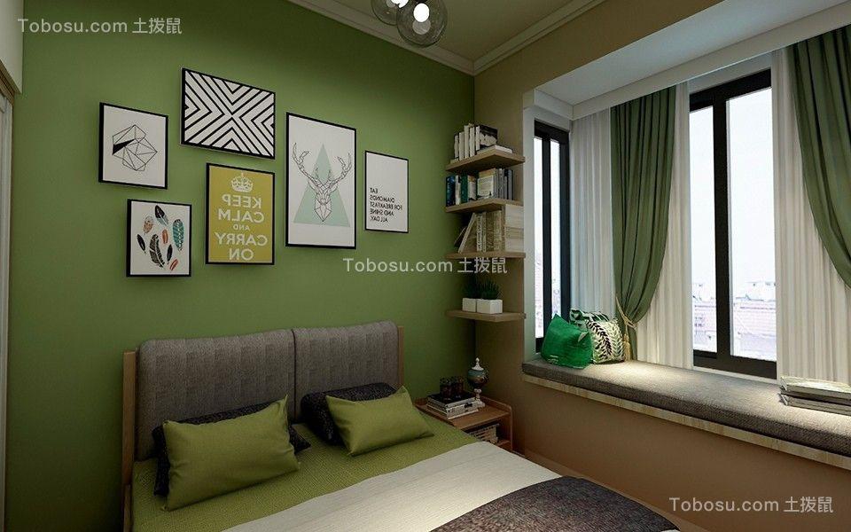 卧室绿色照片墙混搭风格装潢设计图片