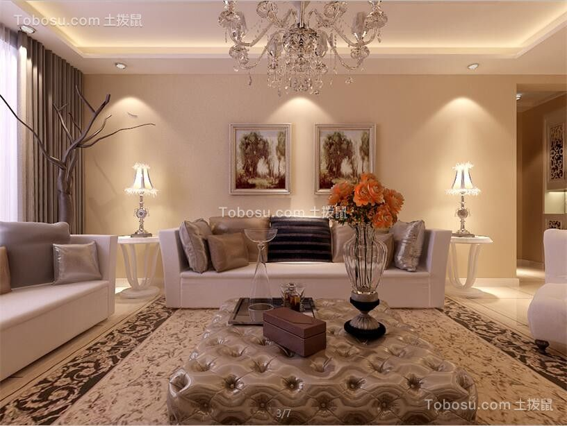 客厅白色沙发欧式风格装潢效果图