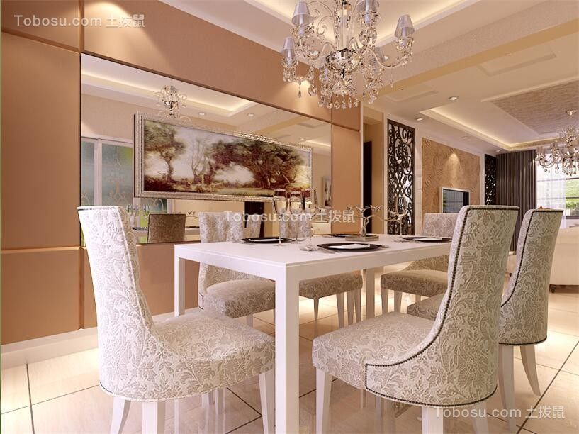 餐厅白色餐桌欧式风格装潢图片