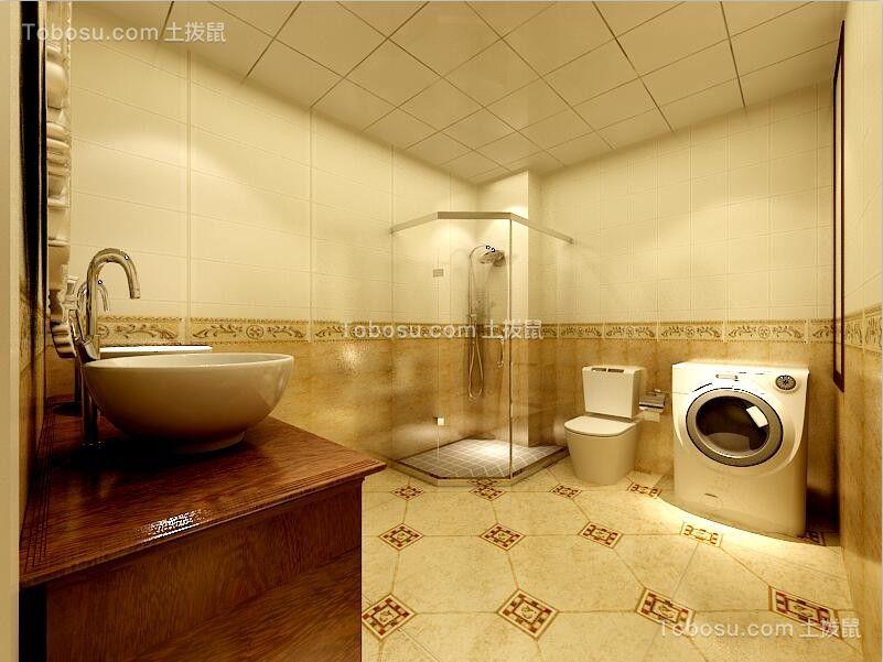 卫生间黄色地砖欧式风格装饰设计图片