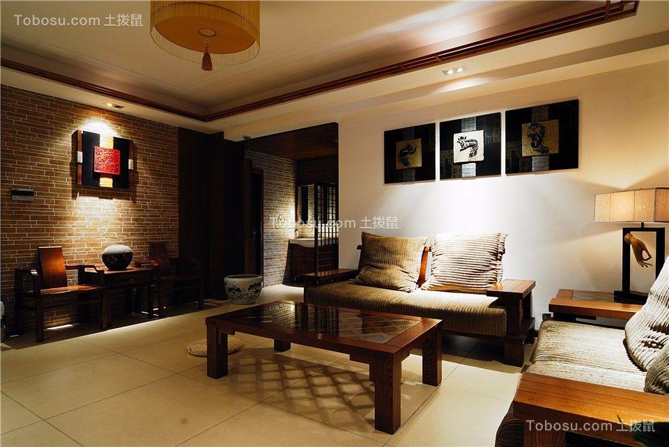 客厅咖啡色背景墙新中式风格装潢效果图