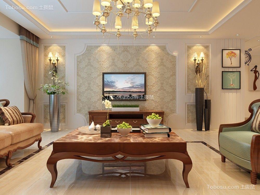 客厅白色背景墙欧式风格装饰效果图