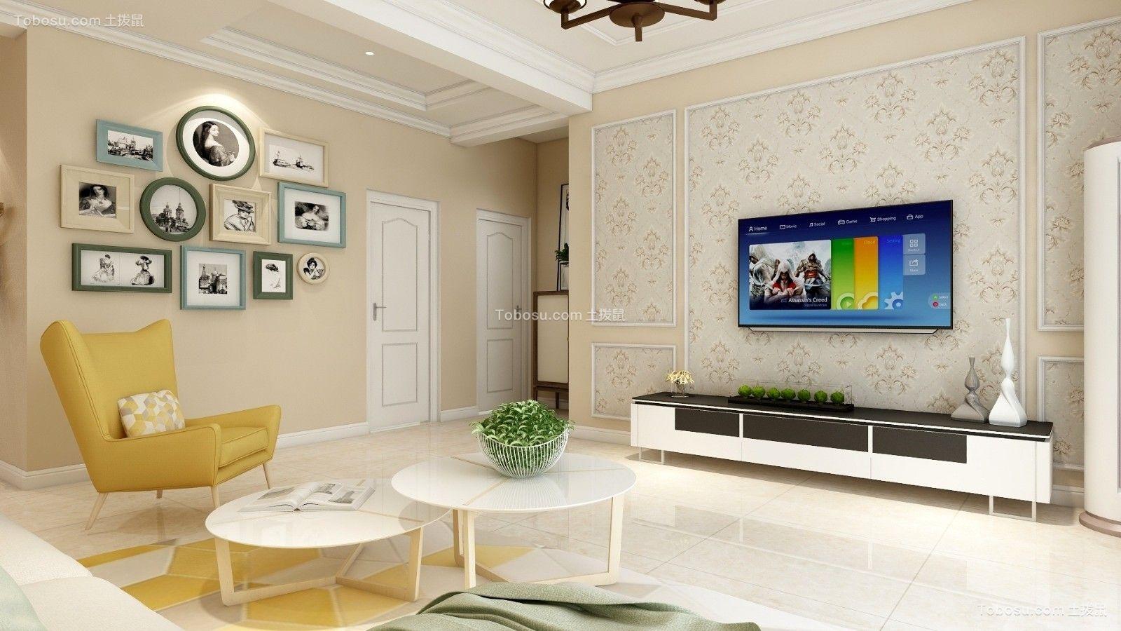客厅黄色照片墙简约风格装饰设计图片