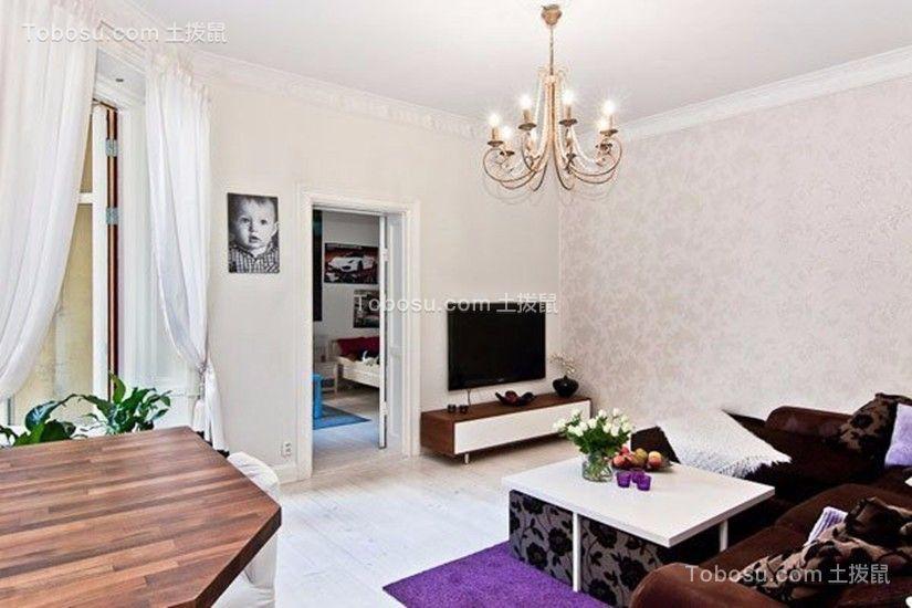 客厅咖啡色沙发简约风格装饰图片