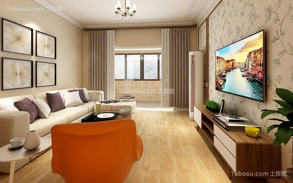 客厅白色吊顶简约风格效果图