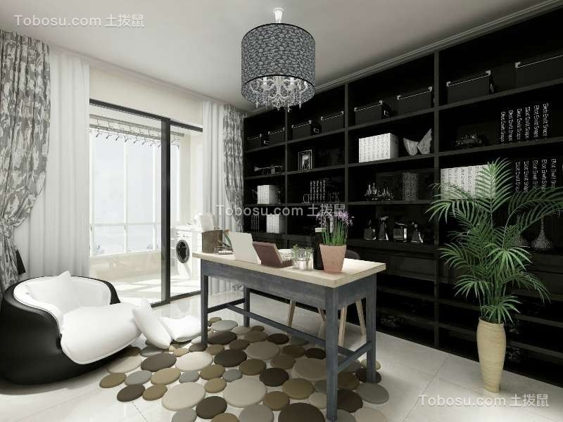 书房黑色书架现代风格效果图