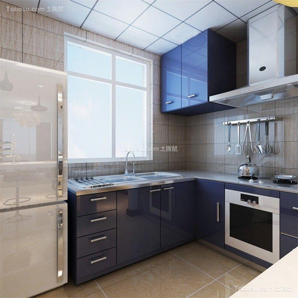 厨房紫色橱柜现代简约风格装修图片