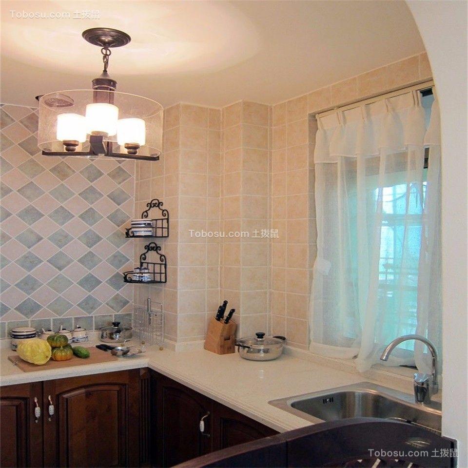 厨房咖啡色橱柜地中海风格装潢设计图片