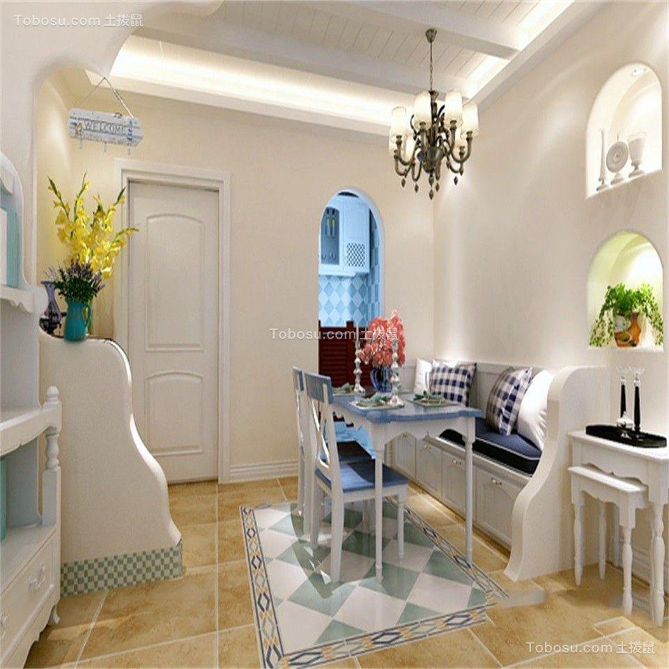 餐厅蓝色餐桌地中海风格装饰效果图