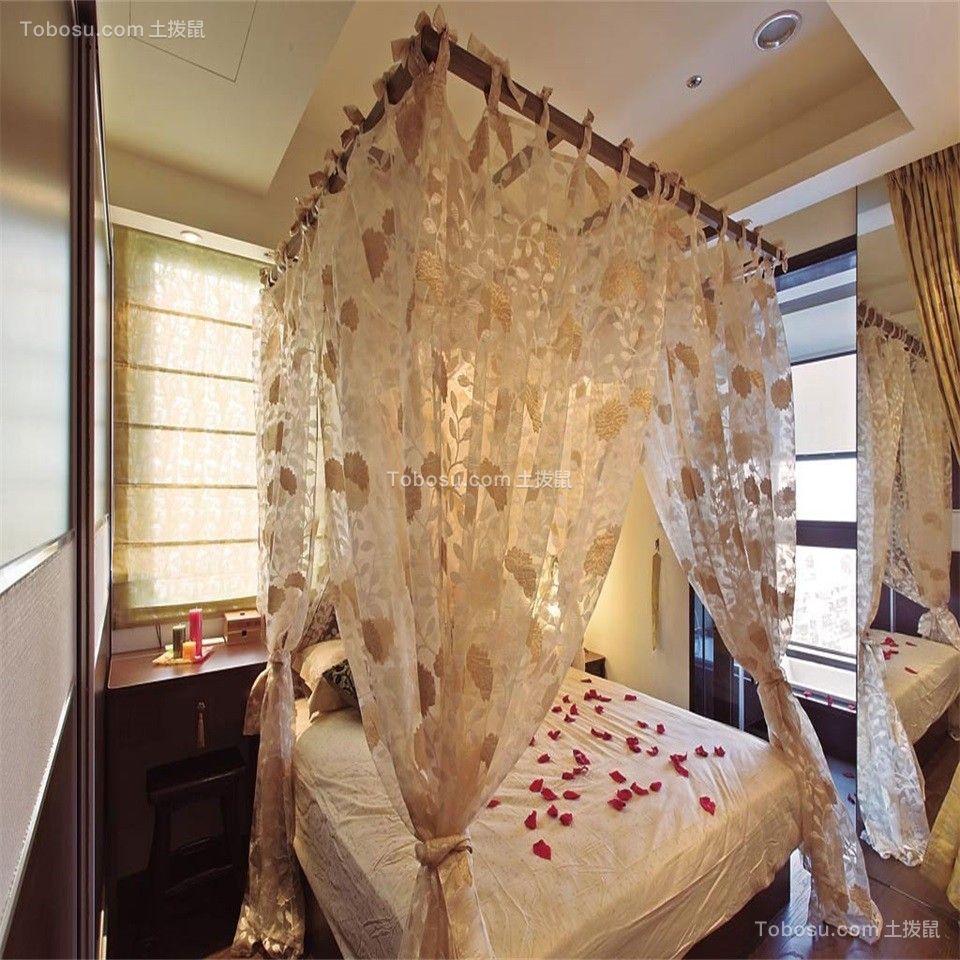 卧室米色窗帘东南亚风格装潢效果图