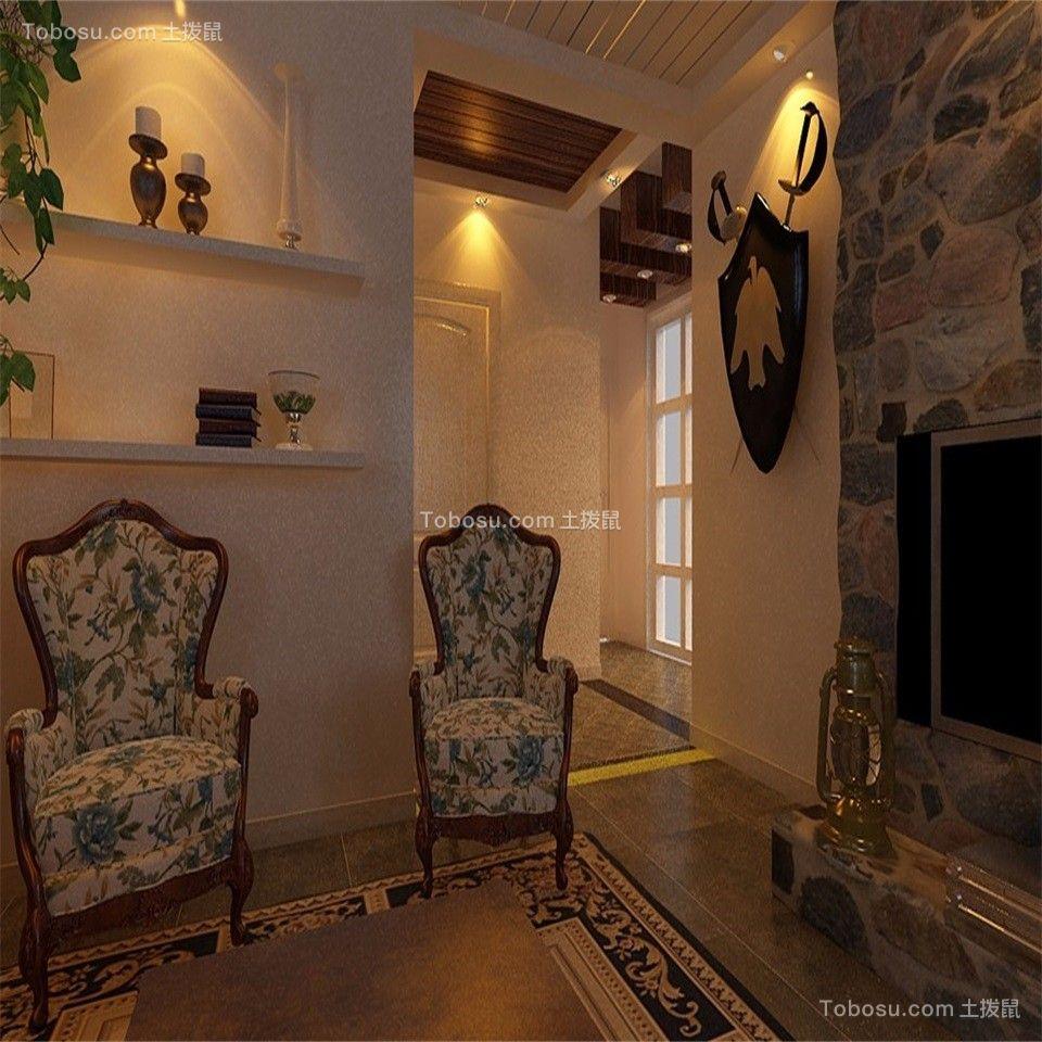 客厅彩色背景墙乡村风格装潢设计图片
