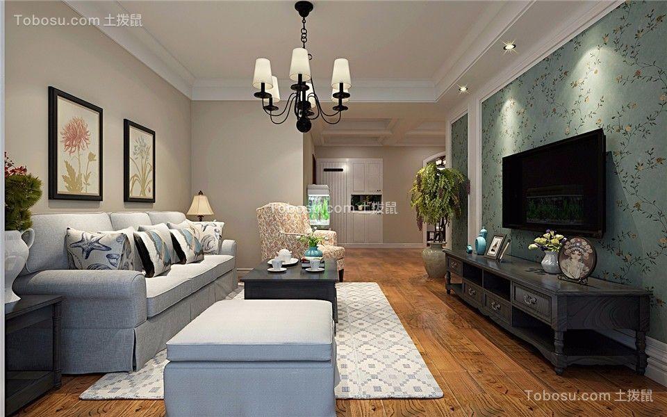 国际丽晶城100平现代美式风格三居室装修效果图