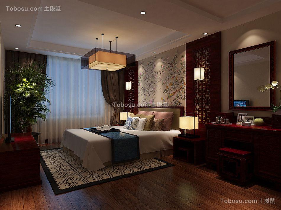 卧室红色梳妆台新中式风格装饰效果图