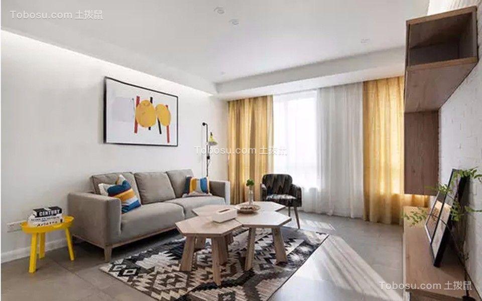 北欧风格75平米三室两厅新房装修效果图