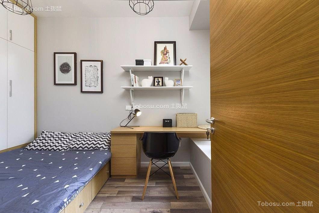 卧室白色书架北欧风格装修图片