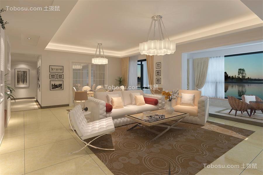 155平米现代简约三居室装修效果图