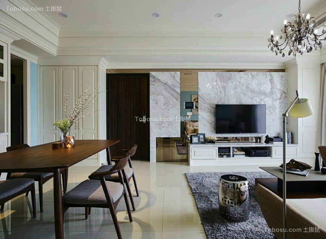 客厅白色背景墙乡村风格装潢设计图片