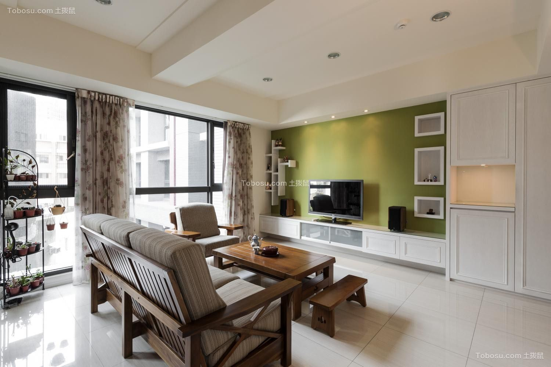 客厅绿色背景墙乡村风格装饰效果图