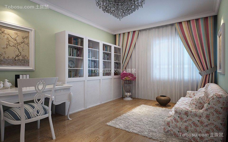 书房彩色窗帘田园风格效果图